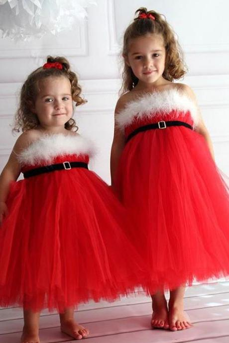 Red Girls Tutu Christmas Dresses Kids Flower Girl Dresses Girls Formal Party Dresses