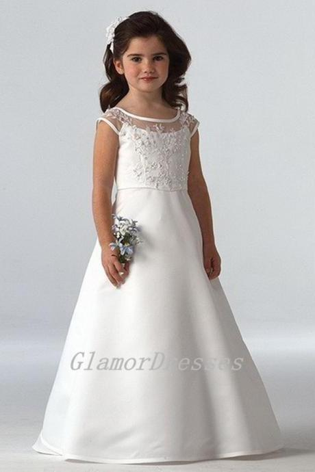 Princess Flower Girl Dresses,White Flower Girl Dresses, Flower Girl Dresses, Girls Wedding Party Dresses, Custom Made Girl Dress for Girl