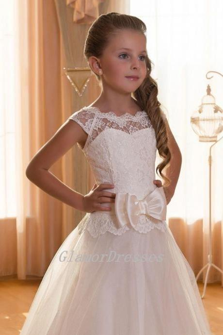 Lovely Flower Girl Dresses, Ball Gown Flower Girl Dresses with Pink Bow, Flower Girl Dresses, Floor Length Girls First Communion Dresses, Girls Wedding Party Dresses, Girls Christmas Dresses,Custom Made Girl Dress for Girl 2-14