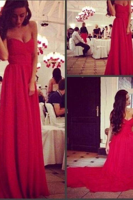 A Line Red Prom Dresses,Pleats Simple Prom Dresses,Prom Dresses,Chiffon Prom Dresses,Evening Dresses,Prom Dress,Homecoming Dresses,Bridesmaid Dresses,Red Lace-Up Back Bridesmaid Dresses