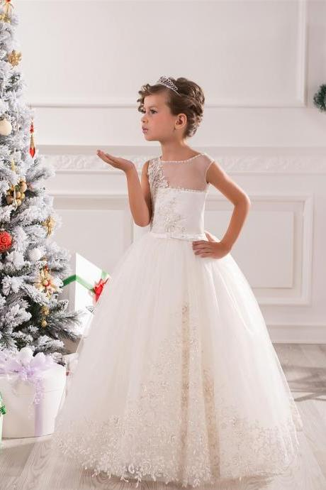 Lovely Flower Girl Dresses, Ball Gown Flower Girl Dresses with Pink Bow, Flower Girl Dresses, Girls Wedding Party Dresses, Girls Christmas Dresses,Custom Made Girl Dress for Girl 2-14