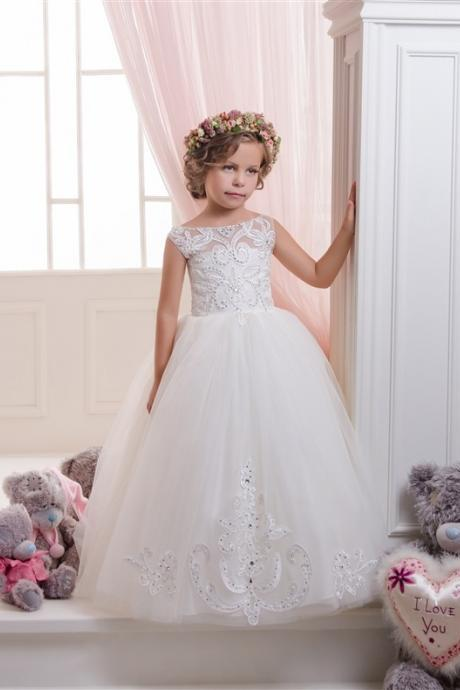 Pretty Flower Girl Dresses,White Flower Girl Dresses,Ball gown Flower Girl Dresses,Girls Christmas Dresses, Girls First Communion Dresses, Girls Wedding Party Dresses,Short Flower Girl Dress,Custom Made Girl Dress for Girl 2-14