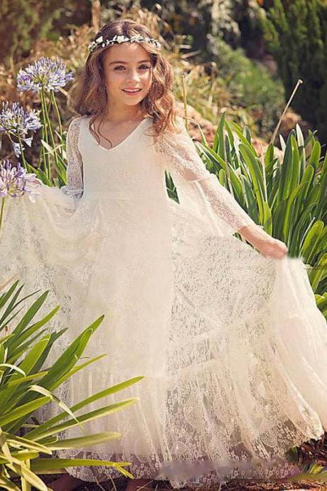 Vintage Ivory Princess Flower Girl Dresses, V Neck Flower Girl Dresses with Sleeves, Flower Girl Dresses, Girls Wedding Party Dresses, Girls Christmas Dresses,Custom Made Girl Dress for Girl 2-14,Girls Pageant Dresses