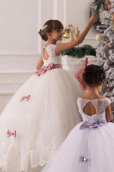 New Arrival Flower Girl Dresses, Princess Ball Gown Flower Girl Dresses with Pink/Purple Sash, Flower Girl Dresses, Girls Wedding Party Dresses, Girls First Communion Dresses,Girls Pageant Dresses,Girls Christmas Dresses