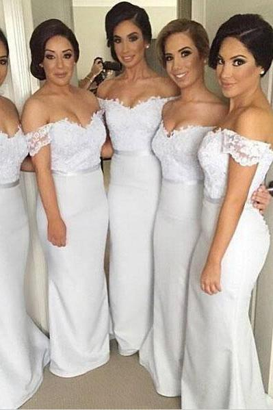 Custom Made White Off-Shoulder Floor Length Mermaid Lace Bridesmaid Dresses
