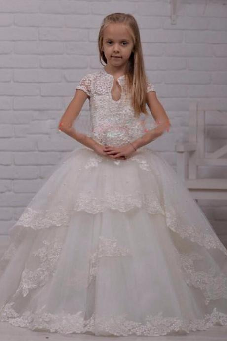 Beads Lace Ball Gown Flower Girls Dresses For Wedding 2016 High Neck Short Sleeves Girls Pageant Dress For Little Girls.Flower Girl Dresses