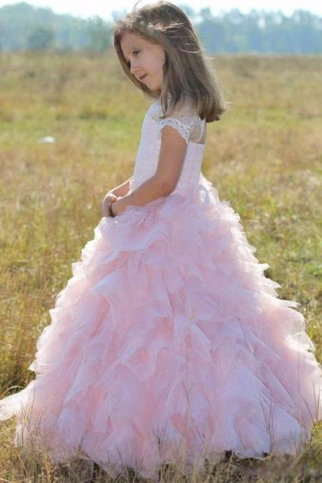 Princess Ball Gown Flower Girl Dresses Elegant Tulle Pink Appliques Girls Fisrt Communion Dress Cheap Wedding Party Dress.Flower Girl Dresses