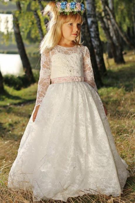 Illusion Lace Long Sleeves White Flower Girl Dresses 2016 Sheer O Neck Girls Formal First Communion Dress Christmas Dress. Flower Girl Dresses