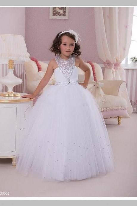 Cute 2016 White Flower Girls Dresses Bead Tulle Halter Off The Shoulder Girls First Communion Dress For Wedding Party.Flower Girls Dresses