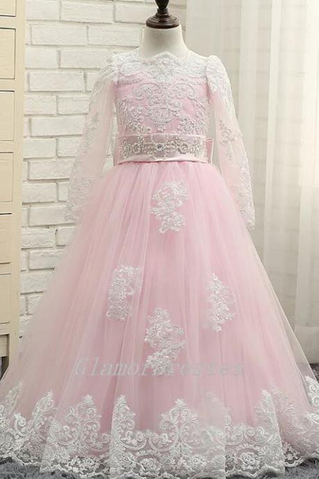 2017 New Princess Pink Flower Girl Dresses Beige Lace Long Sleeves Princess Dress Ball Gown Floor Length Girls First Communion Dress Girls Christmas Formal Party Dresses Custom Made