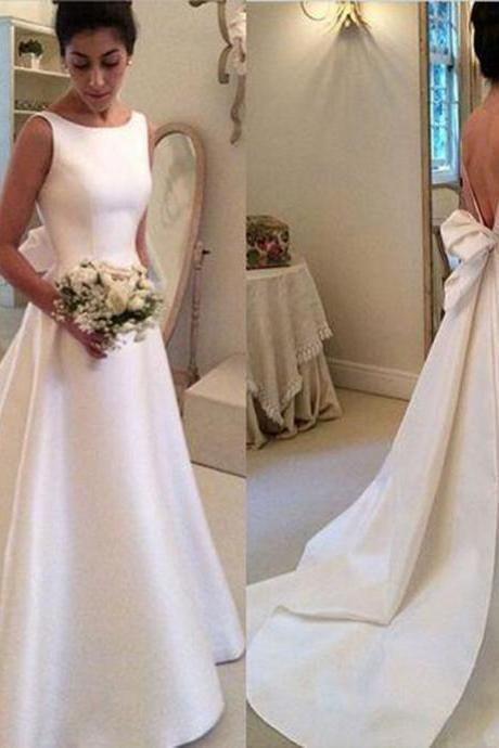 Wedding Dresses,Satin Wedding Dresses,Simple Wedding Dresses,2016 Wedding Dresses,Vintage Wedding Dresses,Real Photo Wedding Dresses,Backless Wedding Dresses,Bridal Gown