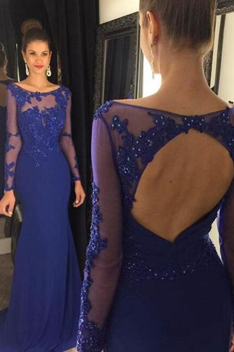 Prom Dress,Navy Blue Mermaid Prom Dress,Sexy Backless Prom dresses,Custom Made Prom Dress,Long Prom Dresses,2016 Prom Dresses,Prom Dresses, Long Sleeves Prom Dresses,Long Evening Dresses,Navy Blue Evening Dresses, Chiffon Prom Dresses
