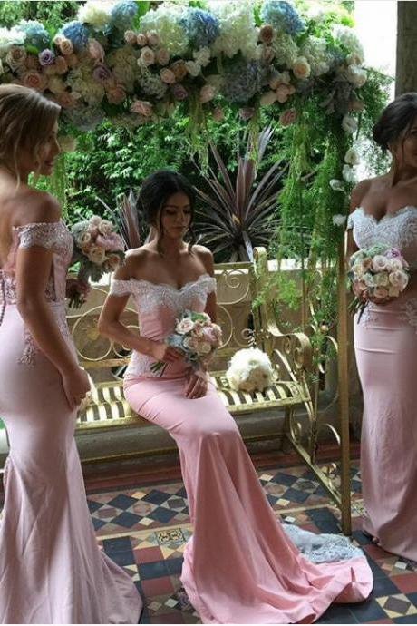 Pink Wedding Dresses,New Wedding Dresses,Memraid Wedding Dresses,2017 Wedding Dresses,Lace Wedding Dresses,Off the Shoulder Wedding Dresses,Sexy Wedding Dresses,Bridal Gown