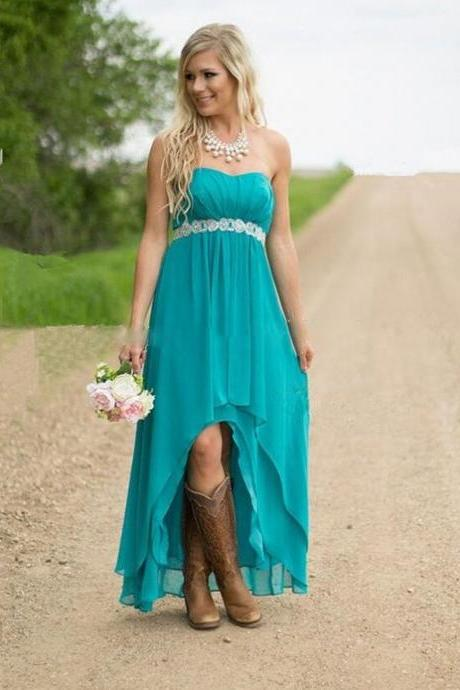 Turquoise Bridesmaid Dress,High Low Bridesmaid Dresses, Bridesmaid Dresses, Plus Size Bridesmaid Dresses, Chiffon Simple Bridesmaid Dresses, Rustic Bridal Party Gowns,Rustic Bridesmaid Dresses,Rustic Wedding Party Dresses,High Low Prom Dresses,Turquoise Homecoming Dresses