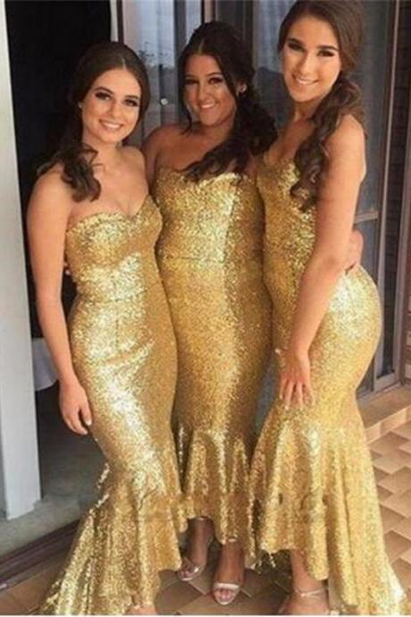 Gold Bridesmaid Dress,High Low Bridesmaid Dresses, Sequins Bridesmaid Dresses, Plus Size Bridesmaid Dresses,Bridesmaid Dresses, Rustic Bridesmaid Dresses,Gold Wedding Party Dresses,High Low Prom Dresses