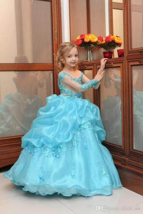 Girls Pageant Dresses Long Sleeve Sequins Appliques Ball Gown Flower Girls Dresses For Wedding Organza Holy Communion Dress Aqua Princess Girls Pageant Dress