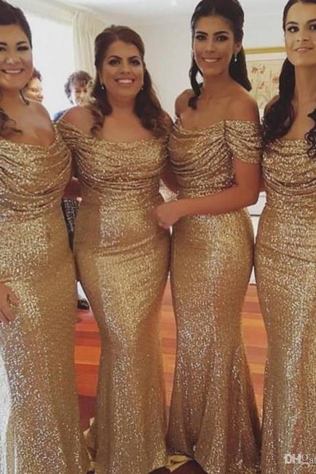Bridesmaid Dresses, Gold Bridesmaid Dresses, 2017 Gold Sequins Bridesmaid Dresses,Mermaid Bridesmaid Dress,Gold Wedding Party Dresses, Plus Size Bridesmaid Dresses,Bridesmaid Dress