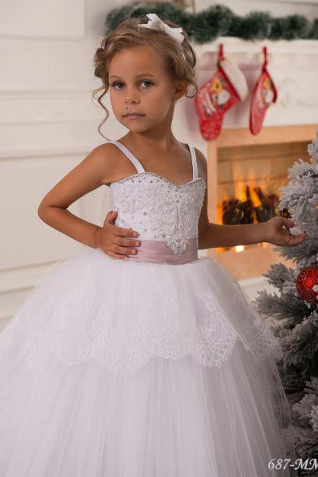White Champagne Lace Flower Girl Dress Baby Girls Dress first Communion Tulle Rustic Girls Birthday Princess Dress .Flower girl dresses.
