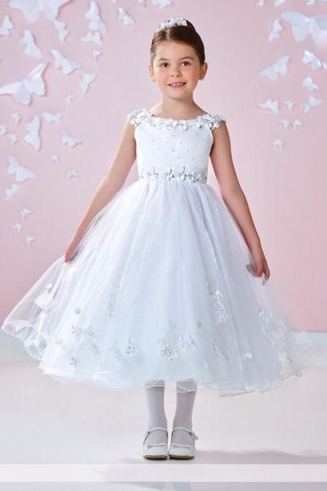 Flower girl dress,white flower girl dress,princess flower girl dress,girls party dresses, girls christmas dresses, 2017 flower girl dress, girls first communion dress, junior bridesmaid dress,girls wedding party dress,girls pageant dress.