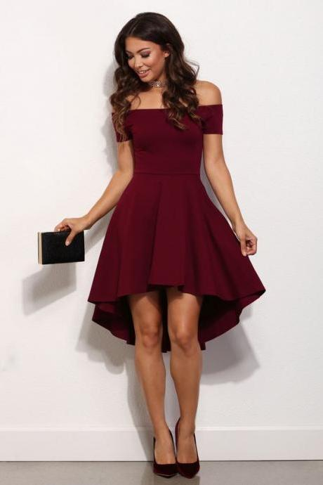 Satin prom dresses,granduatin dresses, short prom dresses,High-low homecoming dresses, Maroon homecoming dresses off-shoulder ,Prom dresses
