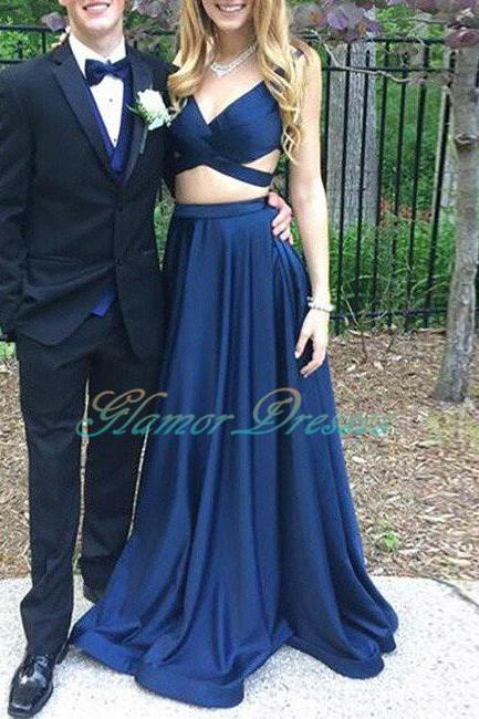 Sexy Backless Prom Dresses Dark Blue Two Pieces Long Prom Dress, Sexy V Neck Evening Dress, Backless Prom Dress, Long Party Dress, Formal Dresses