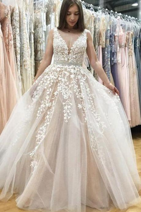 White Wedding Dress,Champagne Wedding Dress,Prom Dresses,Ball Gown Prom Gowns,Lace Prom Dresses,Tulle Prom Dresses,Tulle Prom Gown,Prom Dress,Evening Gown For Teens,Pink Wedding Dress,Long Wedding Dress