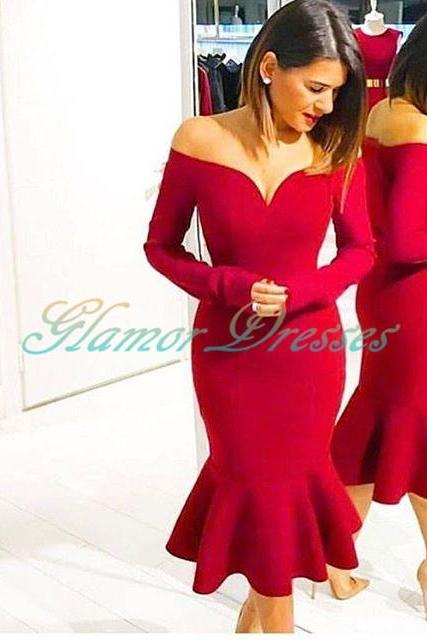 2017 Red Off The Shoulder Homecoming Dress,Tea Length Long Sleeve Party Dress,Evening Dresses,prom dresses