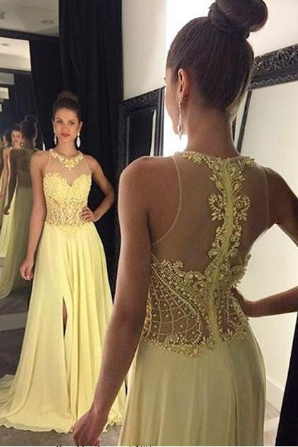 See through prom dress, yellow prom dress, beaded prom dress, sexy prom dress, prom dress 2017, online prom dress, popular prom dress