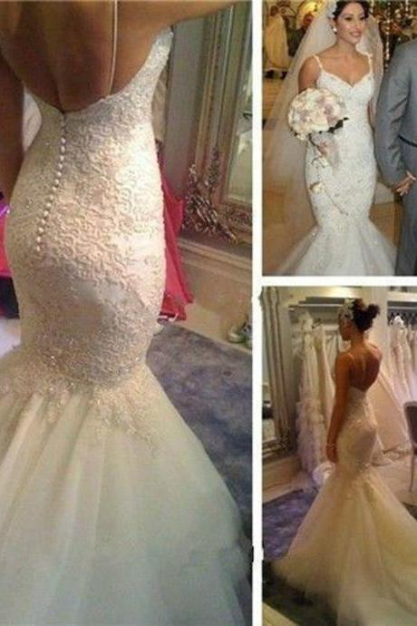 Sexy Backless Mermaid Spaghetti Strap Wedding Dresses Vestido de Noiva Sereia Applique Fishtail Bridal Gowns Bride Gown 2017 Ivory Wedding Dress