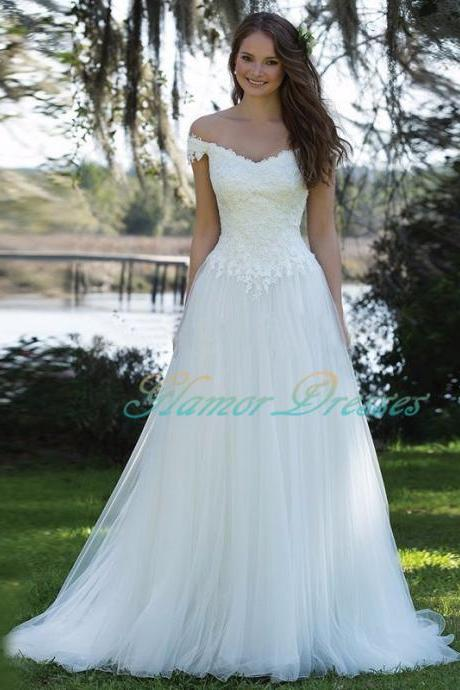 Simple Elegant Beach Wedding Dress Long 2017 Vestidos de novia Off The Shoulder White Tulle Bridal Gown Vintage Lace Appliques Bridal Dresses