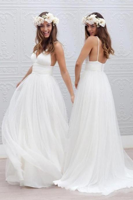 White Chiffon Plunge V Spaghetti Straps Floor Length Tulle A-Line Wedding Dress Featuring Open Back