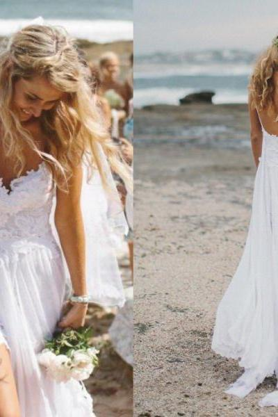 Lace Plunge V Spaghetti Straps Floor Length A-Line Wedding Dress Featuring Open Back, Beach Wedding Dress, Boho Wedding Dress