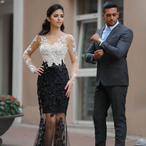 Long Sleeve Prom Dress,Beading Lace Prom Dresses,Evening Dress
