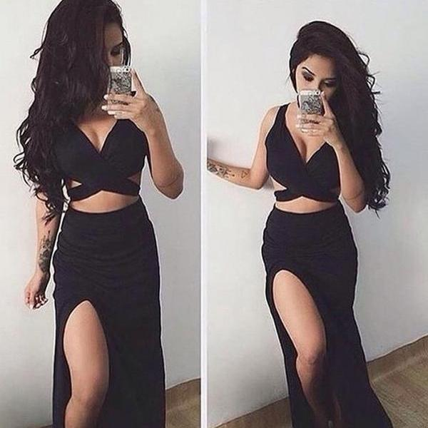 Sexy Black Two Piece Prom Dresses Homecoming Graduation Dresses ,Straps Prom Dress,Black Prom Dresses,Long Evening Dress