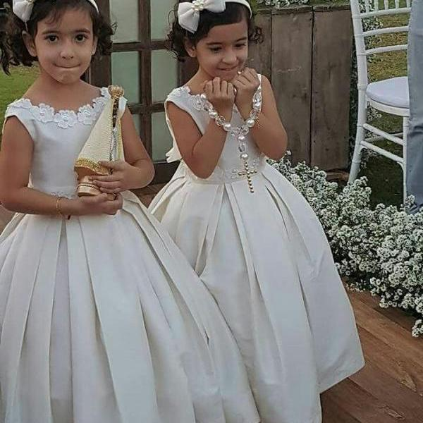 Flower Girl Dress 2018,Ivory Flower Girl Dresses,Girls Christmas Party Dresses, Ball Gown Flower Girl Dress, Girls First Communion Dresses, New Hot Flower Girl Dress, FLD13