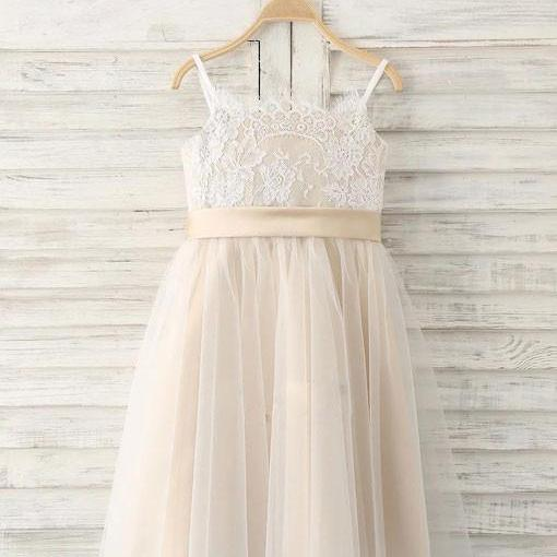 New 2018 Champagne Flower Girl Dresses Tea Length A Line Child Toddler Girl Wedding Dresses Girls Christmas Party Gowns, FLD10