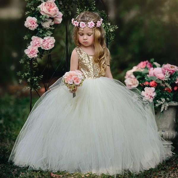 Flower Girl Dress, Gold Sequins Ivory Flower Girl Dresses,Girls Christmas Party Dresses, Ball Gown Flower Girl Dress, Girls First Communion Dresses, New Hot Flower Girl Dress 2018, FLD04