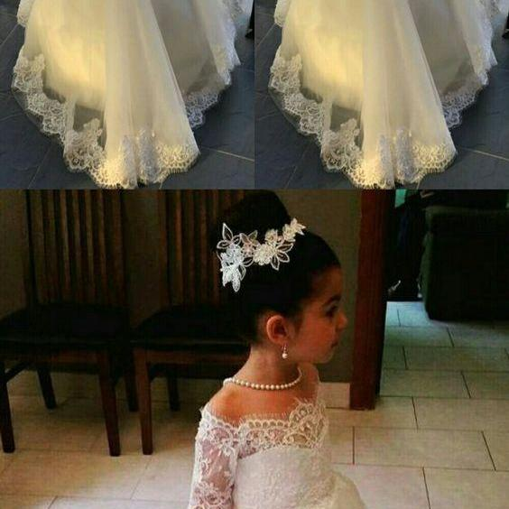 Flower Girl Dress, Princess White Off the Shoulder Lace Appliques Flower Girls Dresses For Weddings 2018 Half Sleeves Little Kids Girl First Communion Dress Pageant Ball Gowns