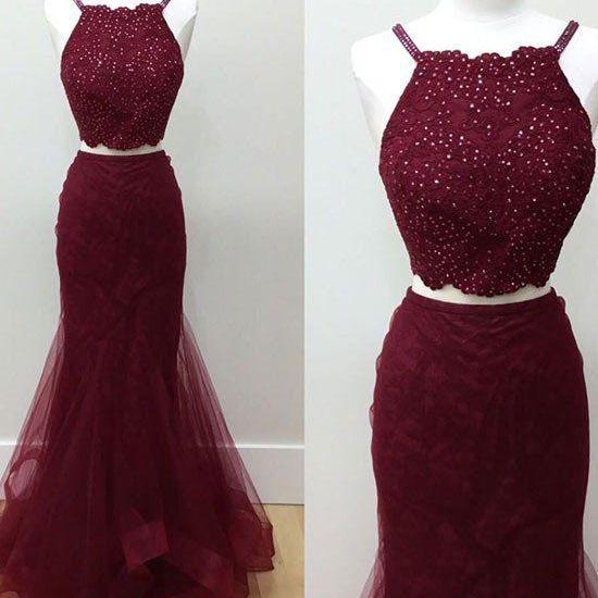 Hot-Selling Two-Piece Mermaid Halter Burgundy Long Prom Dress with Beading prom dresses,prom dress,prom dress,fashion