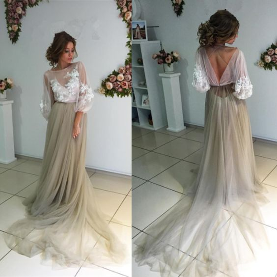 Charming Long Sleeves Unique Applique Long Prom Dresses