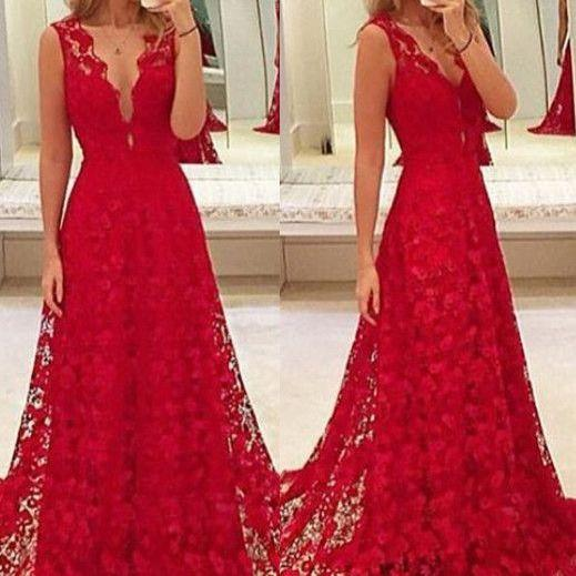 Custom Made Red Lace Prom Dress,V-Neck Party Dress,Sleeveless Party Dress,High Quality Prom Dresses