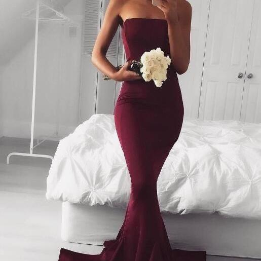 Burgundy Prom Dresses, Mermaid Long Elastic Satin Sexy Strapless Prom Dress Evening Dress Bridesmaid Dresses Women Formal Party Dress