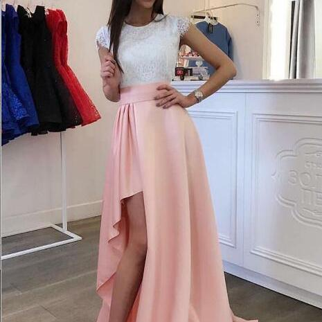New Simple A-Line Cap Sleeves White Pink Prom Dress,Lace High Low Homecoming Dresses, Women Evening Dress Prom Dresses Formal Party Gowns
