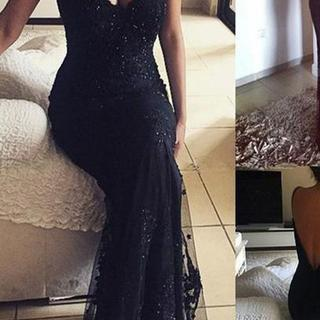 2018 Lace Vintage V-Neck Long Mermaid Spaghetti Straps Beaded Sexy Prom Dresses