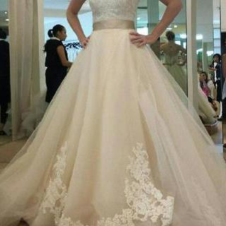 Wedding Dresses 2018,Champagne Lace Belt Bow A Line Tulle Ruffles Vintage Wedding Dresses