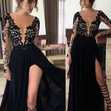 A-Line V-Neck Long Sleeves Floor-Length Black Prom Dress with Split-Side Evening Party Gowns