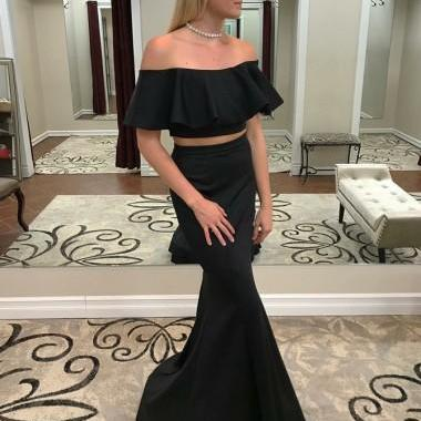 Two Piece Mermaid Black Prom Dress with Ruffle Off-the-Shoulder Formal Party Gowns for Women