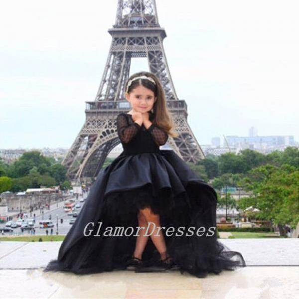 2017 Princess Black Flower Girl Dresses High Low Scoop Long Sleeves Floor Length Satin Tulle Ball Gown Kids Wedding Party Dresses Girls Pageant Dresses