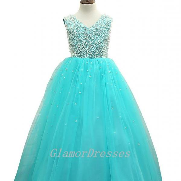 2016 Real Sparkling Beige Beads Turquoise Tulle Flower Girl Dresses Floor Length Girls Pageant Dresses Girls Communion Dresses Birthday Christmas Party Dresses for Girls Girls Wedding Party Dresses