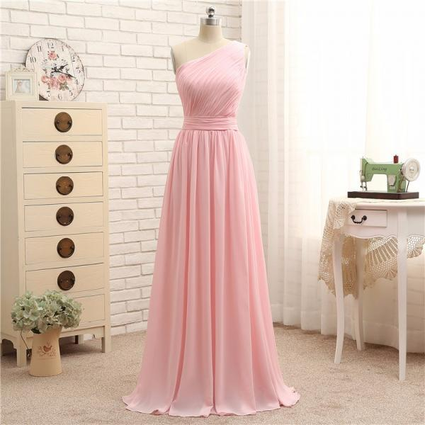 One Shoulder Prom Dresses,Pink Evening Gowns,Simple Formal Dresses,Mint Prom Dresses,Junior Prom Dance Dresses,One Shouler Bridesmaid Dresses,Pink Party Dress,Homecoming Dresses,Pink Bridesmaid Dresses